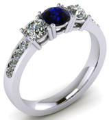 ER021-90 Brilliant Cut Three Stone Blue Sapphire Engagement Ring TW 1.92ct