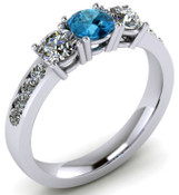 ER021-90 Brilliant Cut Three Stone Topaz Engagement Ring TW 1.92ct
