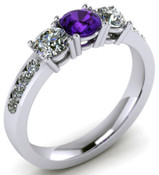 ER002-54 Brilliant Cut Three Stone Amethyst Engagement Ring TW 0.87ct