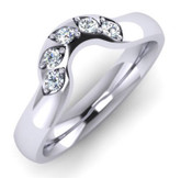 Flat Top Court 3mm Diamond Set Ring with 5 x 1.8mm diamonds, Grain set with diamond cut leaf G37
