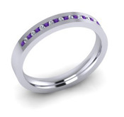 ETG90AM 3mm Channel Set Brilliant Cut Amethyst and Diamond Eternity Ring 40pts
