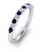 ETG100DS 3mm Claw Set Brilliant Cut Dark Blue Sapp and Diamond Eternity Ring 62pts