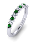 ETG100EM 3mm Claw Set Brilliant Cut Emerald and Diamond Eternity Ring 62pts
