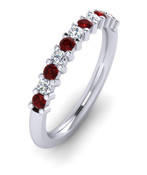 ETG100RU 3mm Claw Set Brilliant Cut Ruby and Diamond Eternity Ring 62pts