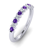ETG100AM 3mm Claw Set Brilliant Cut Amethyst and Diamond Eternity Ring 62pts
