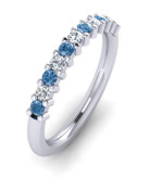 ETG100LD 3mm Claw Set Brilliant Cut Treated Blue Diamond and Diamond Eternity Ring 55pts