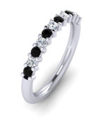 ETG100BD 3mm Claw Set Brilliant Cut Black and White Diamond Eternity Ring 62pts