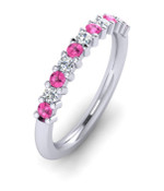 ETG100PD 3mm Claw Set Brilliant Cut Treated Pink Diamond and Diamond Eternity Ring 55pts