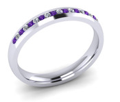 ETG102AM 3mm Channel Set Brilliant Cut Amethyst and Diamond Eternity Ring 25pts