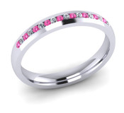 ETG102PD 3mm Channel Set Brilliant Cut Treated Pink Diamond and Diamond Eternity Ring 20pts