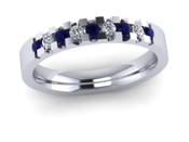 ETG134DS 3mm Low Claw Set Brilliant Cut Dark Blue Sapp and Diamond Eternity Ring 30pts
