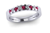 ETG134PS 3mm Low Claw Set Brilliant Cut Pink Sapphire and Diamond Eternity Ring 30pts