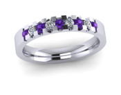 ETG134AM 3mm Low Claw Set Brilliant Cut Amethyst and Diamond Eternity Ring 30pts