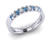 ETG134LD 3mm Low Claw Set Brilliant Cut Treated Blue Diamond and Diamond Eternity Ring 22pts