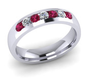 ETG135PS 4mm Channel Set Brilliant Cut Pink Sapphire and Diamond Eternity Ring 40pts