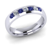 ETG135TA 4mm Channel Set Brilliant Cut Tanzanite and Diamond Eternity Ring 40pts