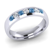 ETG135LD 4mm Channel Set Brilliant Cut Treated Blue Diamond and Diamond Eternity Ring 35pts