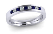 ETG136DS 3mm Channel Set Brilliant Cut Dark Blue Sapp and Diamond Eternity Ring 27pts