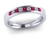 ETG136PS 3mm Channel Set Brilliant Cut Pink Sapphire and Diamond Eternity Ring 27pts