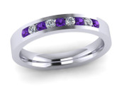 ETG136AM Channel Set Brilliant Cut Amethyst and Diamond Eternity Ring 27pts