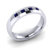 ER021-90 3mm Channel Set Princess Cut Dark Blue Sapp and Diamond Eternity Ring 43pts
