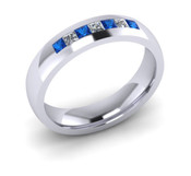 ER021-90 3mm Channel Set Princess Cut Ceylon Sapphire and Diamond Eternity Ring 43pts