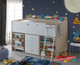 Paddington midi sleeper is exclusive to Awesome Beds 4 Kids. The Paddington is a great space saver solution for all kids bedrooms. The bed features 3 drawer chest, a fantastic long bookshelf, pullout desk on castors with two internal shelf's for books, games etc.
