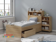The Airlie Bed with Storage is a perfect solution for storage to any bedroom. The bed frame boasts a bookcase headboard, two underbed drawers. Hideaway storage cabinet which simply slides into the headboard and can be assembled either side.