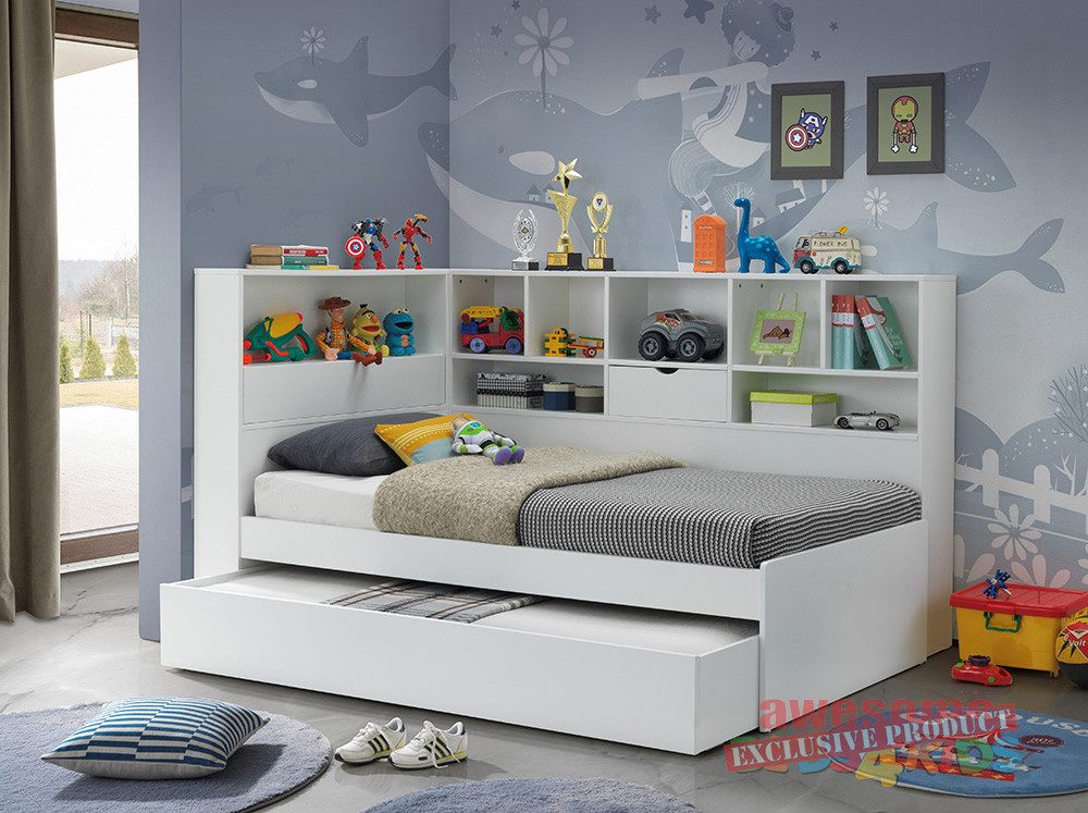 Awesome Beds for Kids & 2. Single Miami Trundle Bed with Bookcase