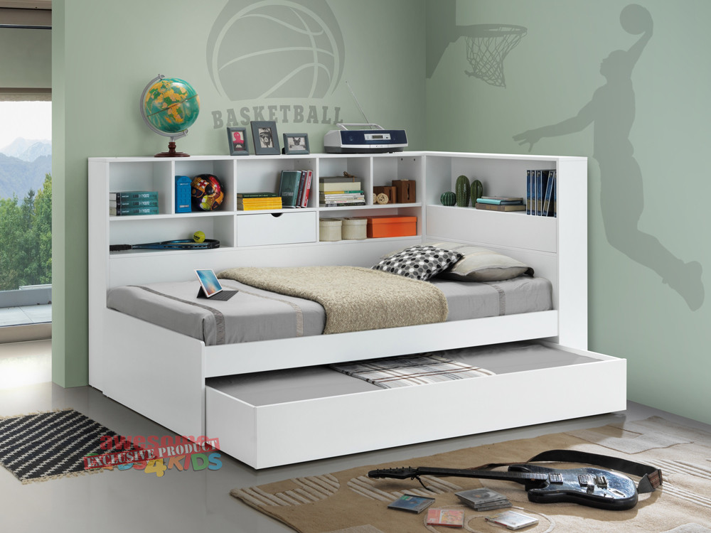 The Miami King Single Trundle Bed With Bookcase Is Space Saving That Every Kids