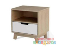 Sidney Bedside Table. The stylish two-tone design of the bedside table brings a touch of class to any room. The drawer sits on metal easy to slide runners that will run smoothly when your kids need to use it.