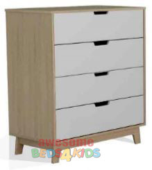 Sidney Tallboy  is a 4-drawer tallboy that will fit nicely into any bedroom. The 4-drawers sit on easy to slide metal runners meaning it will always be nice and smooth for your kids to use.