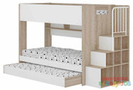 Alexis Bunk Bed with Trundle and Stairs is an ideal first bunk bed for kids. With easy access staircase, including a rail to help with access, the bunk bed also features a rollout trundle on castor wheels. The end of the bed boasts 8 open shelves which provide ample of storage in the bedroom.