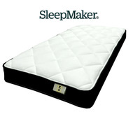 "Sleepmaker Brand ""Just Sleep"". Smooth Top Design, Continuous Spring, Medium/Firm Comfort Layers, Climatex Quilt and a 5 Year Warranty. 200mm depth"
