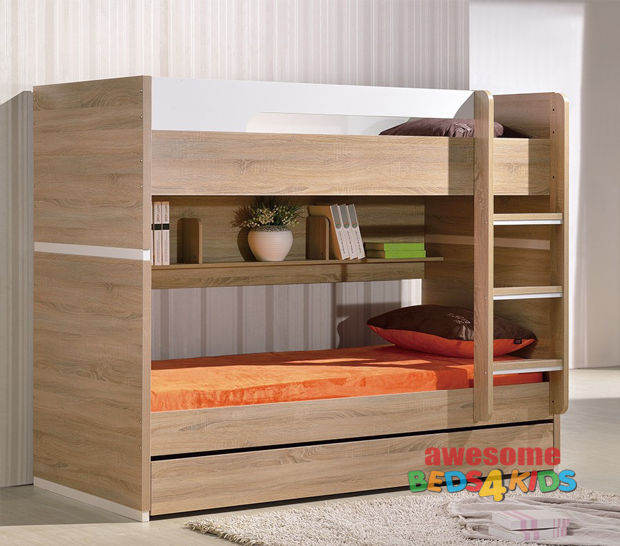 Marcoola Bunk Bed is great space saving bunk for all rooms. The Marcoola Bunk has the option to be split into two beds if required and features a trundle bed under the bottom bed great for sleepovers or storing all the kids toys or manchester.