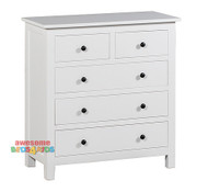 The Panama Tallboy is a modern 5-drawer tallboy that will complete any bedroom. The Panama Tallboy will suit any white themed bedroom.