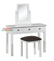 The Panama Dressing Table with Mirror and Stool is a must for any little girls room with three drawers and black handles. The Panama Dressing Table will suit any white themed bedroom.