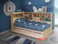 Palm Beach Single or King Single Bookcase Trundle Bed is a very modern and practical bedroom solution for boys or girls. Bed includes bookcase bedhead and surround bookcase with Trundle. The bed is reversible so long bookcase & trundle can be configured either side.