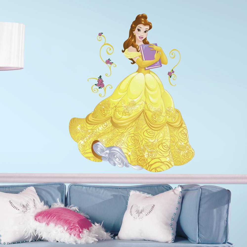 Celebrate the beautiful Disney Princess who fell in love with the Beast with our Sparkling Disney Princess Belle Giant Wall Decals With Glitter!