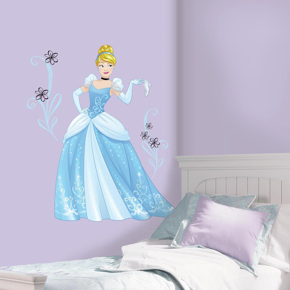 Dance till the clock strikes midnight with Sparkling Disney Princess Cinderella Giant Wall Decals With Glitter!