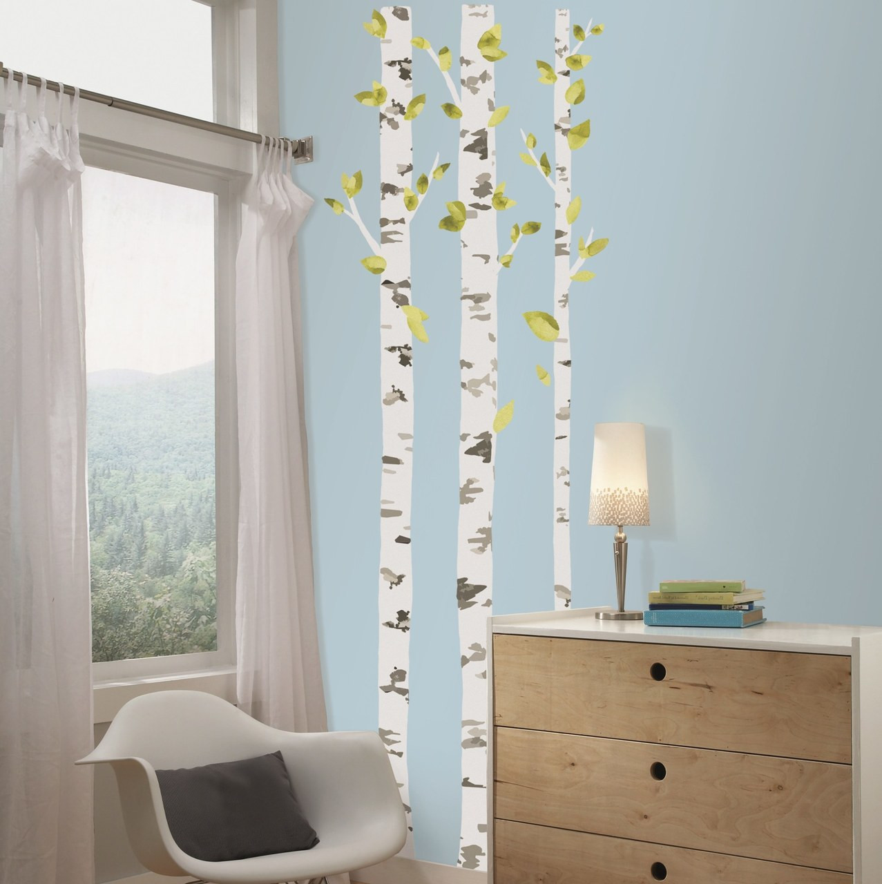Nature meets the walls in your home with these Birch Trees Peel and Stick Giant Wall Decals from RoomMates!