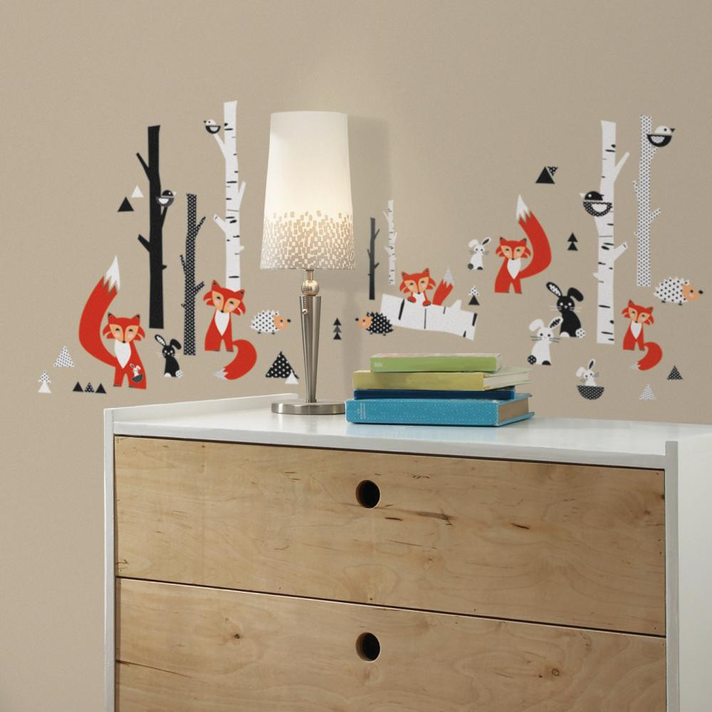 Bring the beauty of nature to the inside of your home with these Fox Forest Peel and Stick Wall Decals!