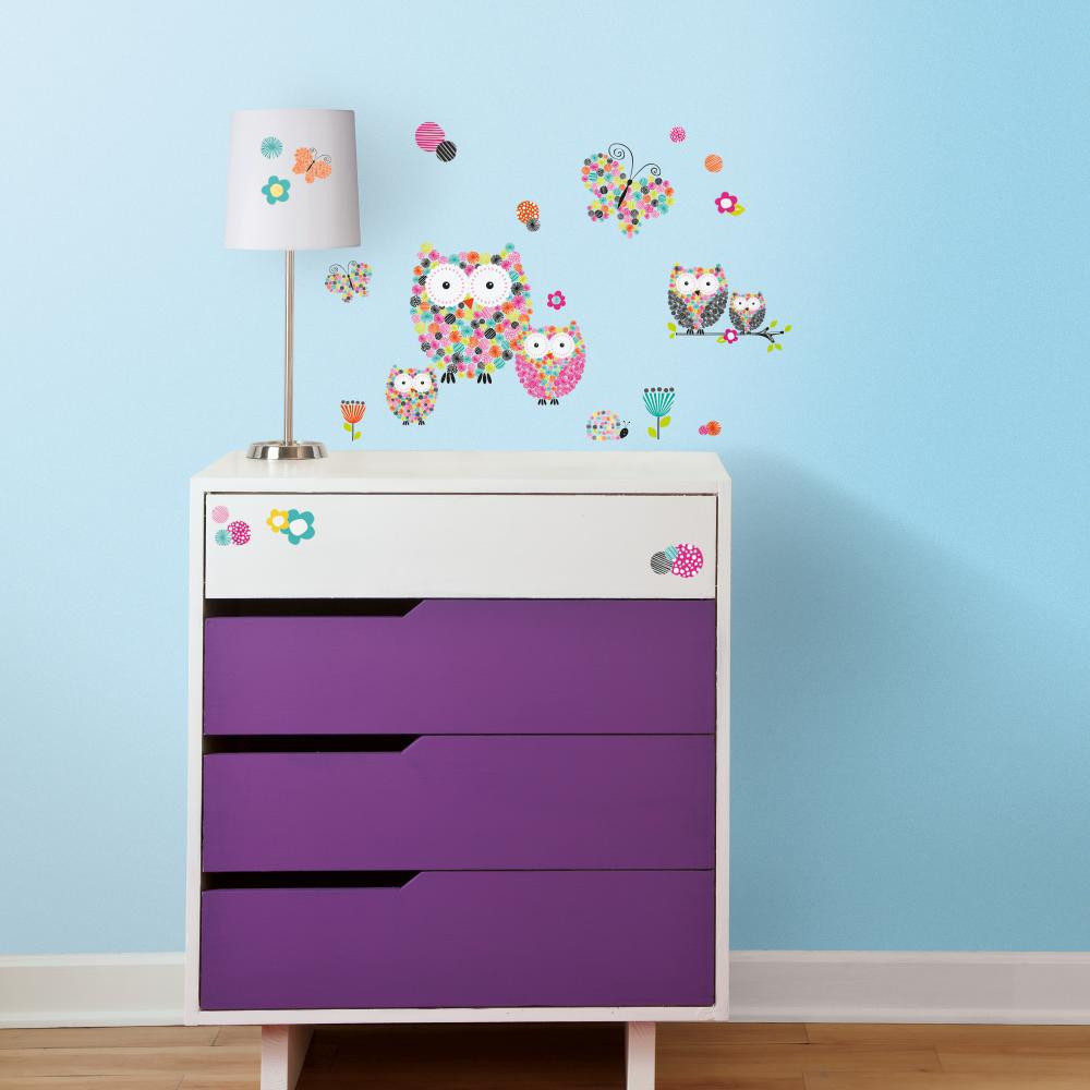 Give a space a burst of color with our Prisma Owls and Butterflies Peel and Stick Wall Decals!