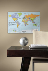 Study the countries of the world or keep track of your family vacations with our Dry Erase World Map wall decal!