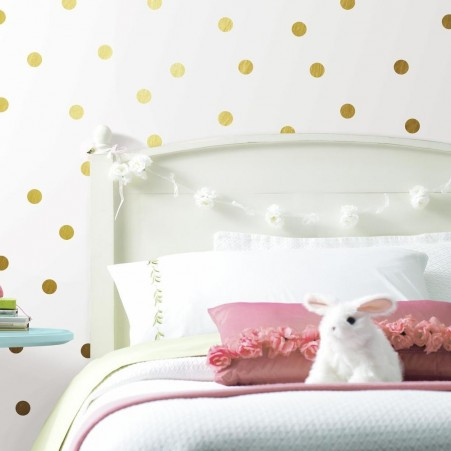 Give your room the ultimate glam makeover with Gold Foil Confetti Dots Peel and Stick Wall Decals.