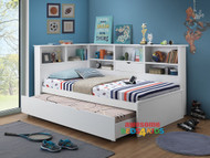 Tosca King Single Trundle Bed is a very modern and practical space saving solution for boys or girls. Bed includes bookcase bedhead and surround bookcase with Single Trundle.