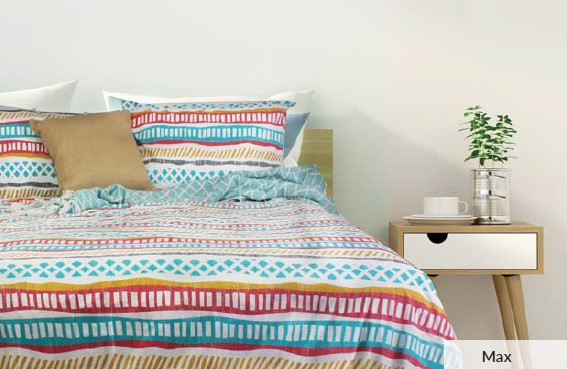 Max quilt cover set is made from 100% cotton, 250 Thread count