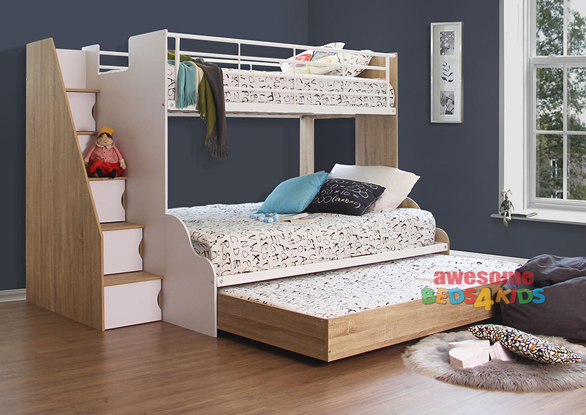 Seaford Single Over Double Bunk Bed with Double Trundle is the ideal bunk for all room sizes. With so many awesome options including the Staircase with 5 built in cabinets, providing ample storage space and easy access to the top bunk and a double trundle to accommodate family and friends for sleepovers.