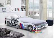 King Single No 88 White Car Bed with Drawer