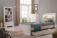 Amber features LED lights plus a handy pull down storage in the headboard as well as plenty of space for books and trinkets etc. Complete with storage trundle drawer, which is great for kids sleepovers and extra storage. Single or King Single.